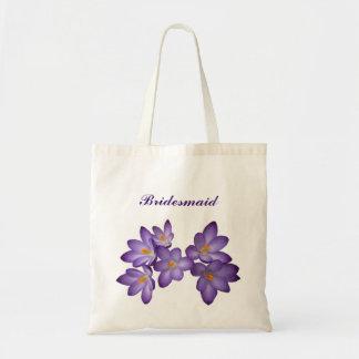 Purple Spring Floral Bridesmaid Tote Bag