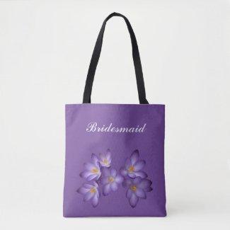 Purple Spring Floral Bridesmaid Wedding Tote Bag