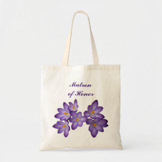 Purple Spring Floral Matron of Honor Budget Tote Bag