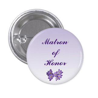 Purple Spring Floral Matron of Honor Pin 1 Inch Round Button