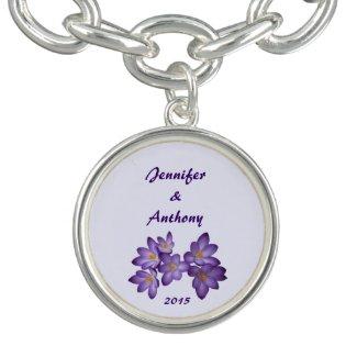 Purple Spring Floral Wedding Bracelet