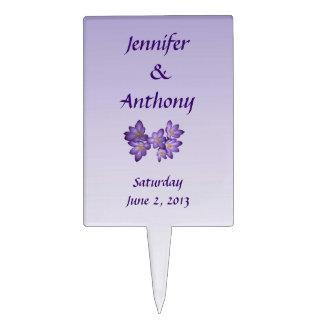Purple Spring Floral Wedding Cake Topper