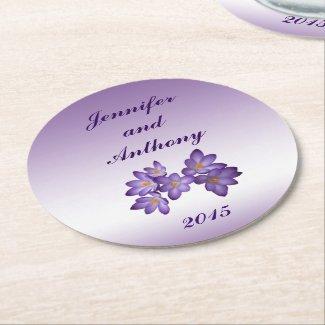 Purple Spring Floral Wedding Coasters