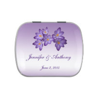 Purple Spring Floral Wedding Favor Jelly Belly Candy Tin