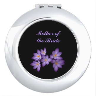 Purple Spring Floral Wedding Mother of the Bride Compact Mirrors