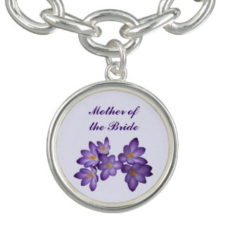 Purple Spring Floral Wedding Mother of the Bride Bracelets