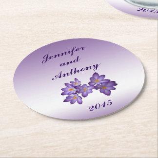 Purple Spring Floral Wedding Round Paper Coasters
