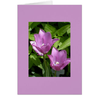 Purple Spring Flowers Customizable Card w/ Border