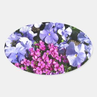 Purple Spring Flowers Oval Sticker