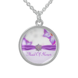 Purple Spring Flowers Watercolor Wedding Sterling Silver Necklace
