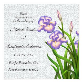 Purple Spring Iris Flowers Save the Date Card
