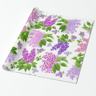 Purple Spring Lilac Flowers Wrapping Paper