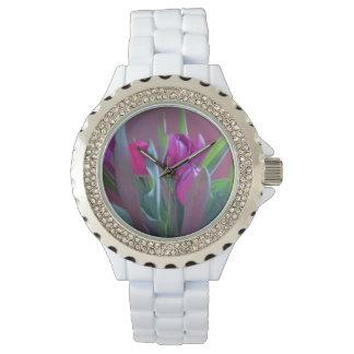 Purple Spring Tulips Wrist Watch