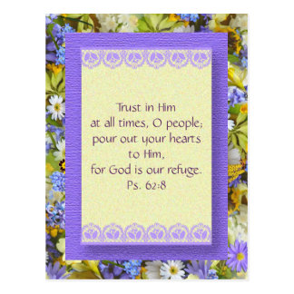 Purple Springtime Floral Bible Verse Postcard