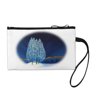 Purple Spruce Trees Winter Blue Christmas 6 Coin Wallet