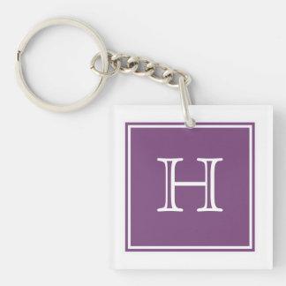 Purple Square Monogram Acrylic Keychain