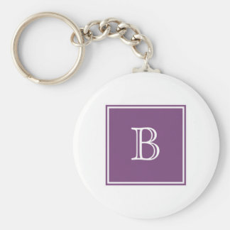 Purple Square Monogram Basic Keychain