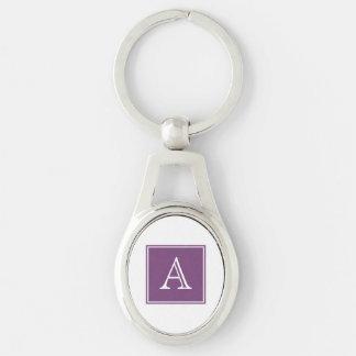 Purple Square Monogram Metal Keychain