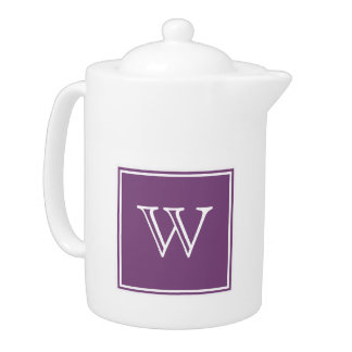 Purple Square Monogram Teapot