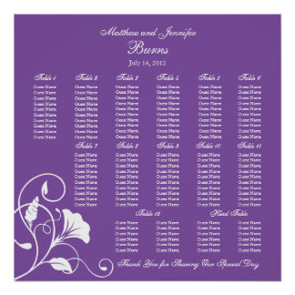 Purple Square Wedding Reception Seating Chart