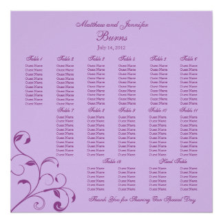 Purple Square Wedding Reception Seating Chart Poster