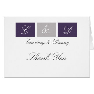 Purple Squares Thank You Cards