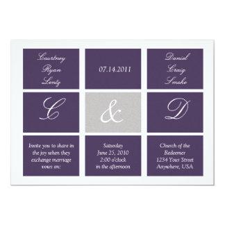 Purple Squares Wedding Invitation