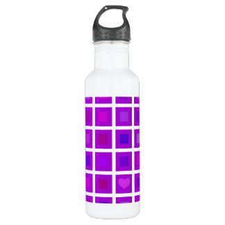 Purple Squares with a Little Heart 24oz Water Bottle