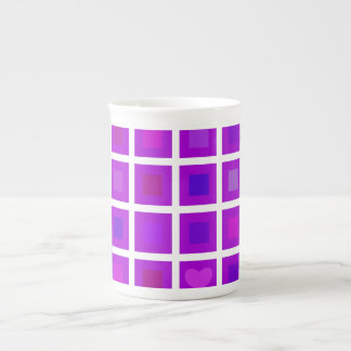 Purple Squares with a Little Heart Porcelain Mugs