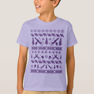 """Purple Squid """"Ugly Christmas Sweater"""" Design T-Shirt"""
