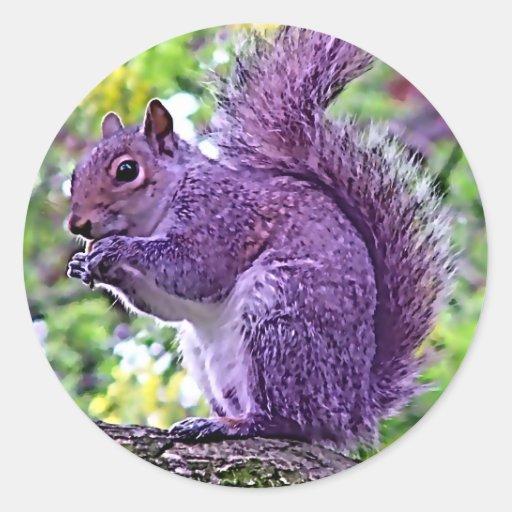 Purple Squirrel Classic Round Sticker