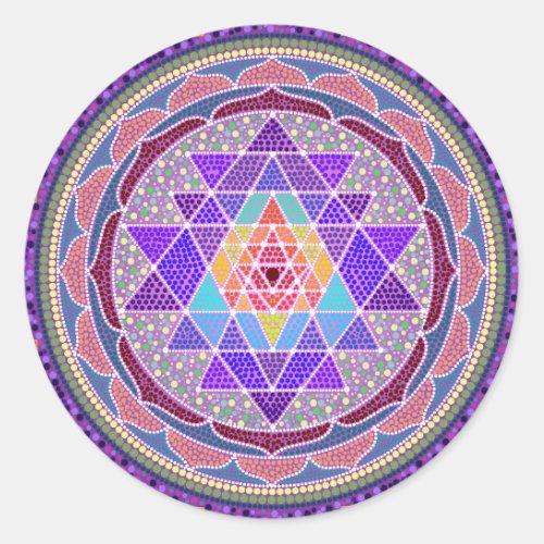 Purple Sri Yantra Classic Round Sticker
