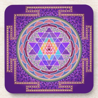 Purple Sri Yantra Coasters