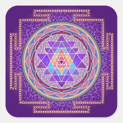Purple Sri Yantra Square Sticker
