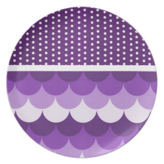 Purple Stacked Circles and Polka Dots Dinner Plate