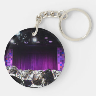 Purple stage solarized theater design Double-Sided round acrylic keychain