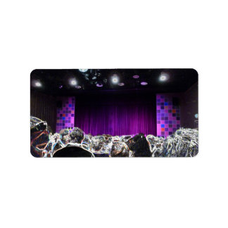 Purple stage solarized theater design labels