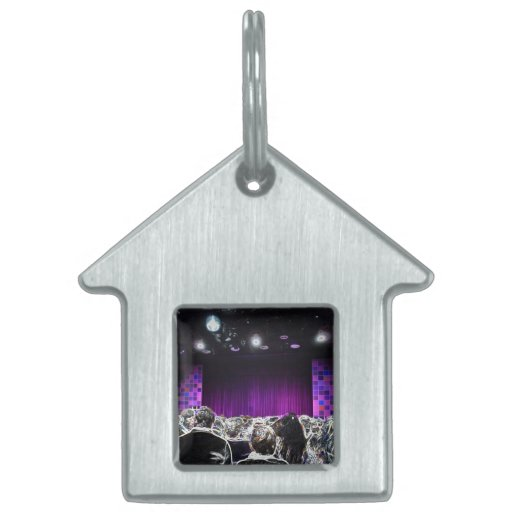 Purple stage solarized theater design pet ID tags