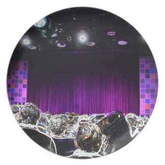 Purple stage solarized theater design plate