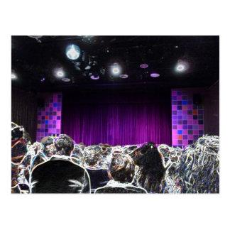 Purple stage solarized theater design postcard