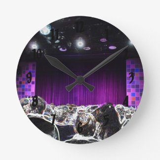 Purple stage solarized theater design round clock