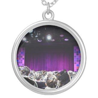 Purple stage solarized theater design round pendant necklace