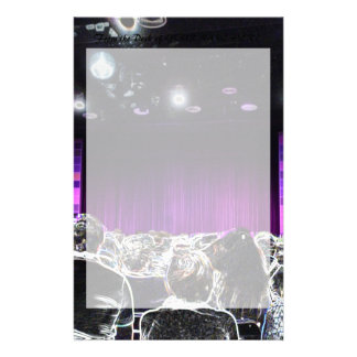 Purple stage solarized theater design stationery