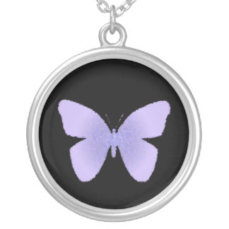 Purple stained glass butterfly on black round pendant necklace