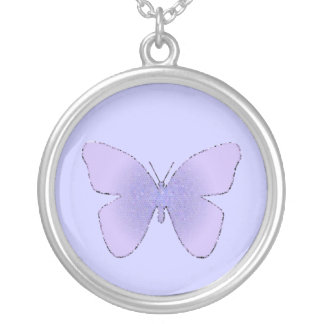 Purple stained glass butterfly on periwinkle round pendant necklace