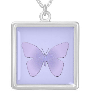 Purple stained glass butterfly on periwinkle square pendant necklace