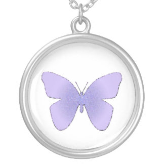 Purple stained glass butterfly on white round pendant necklace