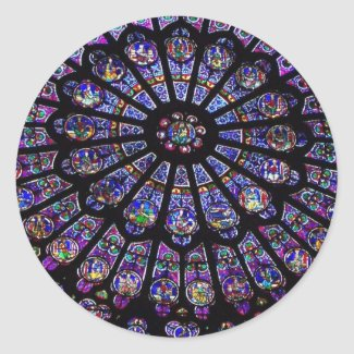Purple Stained Glass Church Window Classic Round Sticker