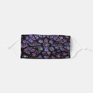 Purple Stained Glass Church Window Cloth Face Mask