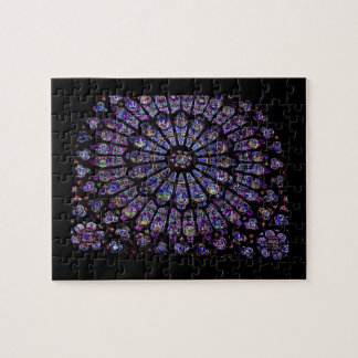 Purple Stained Glass Church Window Jigsaw Puzzle